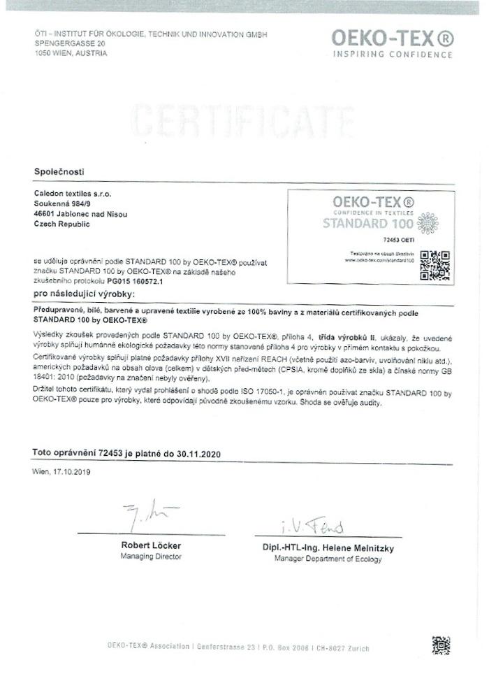 Certifikát pro 100% bavlněnou českou sypkovinu